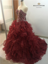 Wholesale Sexy Dresses For New Years - New Elegant Ball Gown Wine Red Quinceanera Dresses 2017 Beaded Crystals Appliques Sweet 16 Dresses For 15 Years Debutante Gown QC261