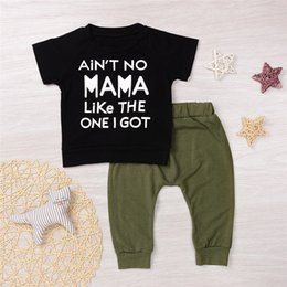 Wholesale Get Clothing - 2017 Newly Kid's Hot Clothes Suit NO MAMA LIKE THE ONE GOT Letters Cotton Boy's Black T-Shirt Army Green Pants Clothing Mikrdoo Wholesale