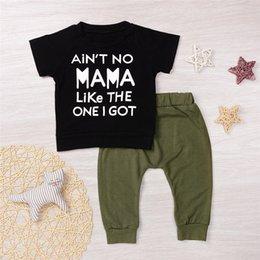 vestito dell'esercito dei ragazzi Sconti 2017 vestito di vestiti caldi del nuovo capretto NESSUNA MAMA COME UNO GOT Letters Cotton Boy's Black T-Shirt Army Green Pants Abbigliamento Mikrdoo all'ingrosso