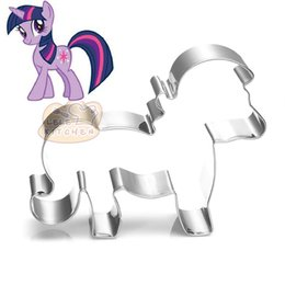 Wholesale Horse Mold - 10pcs horse Metal cookie cutter high quality Little pony fondant stamp mold Patisserie gateau biscuit cutters pastry tools BG027 9*8.2cm