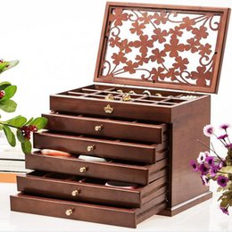 Wholesale Wooden Jewelry Boxes Drawers - Luxury Hollow Out Female Large Jewelry Box 6 Drawers Wooden Necklace Organizer Earring Holder Organizer Case Gifts ZA1382