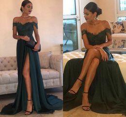 Wholesale side slits - 2018 Dresses Evening Wear A-Line Hunter Green Chiffon High Split Cutout Side Slit Lace Top Sexy Off Shoulder vestido longo Prom Party Dress