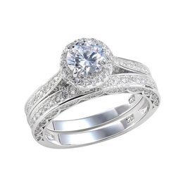 Wholesale Ct Shipping - 2.4 Ct Round Cut AAA CZ Solid 925 Sterling Silver Wedding Ring Bridal Sets Trendy Jewelry For Women Free Shipping From USA   UK