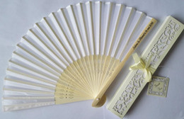 Wholesale Elegant Silk Fan Favors - Personalized Luxurious 150pcs lot Silk Fold hand Fan in Elegant Laser-Cut Gift Box +Party Favors wedding Gifts+Printing