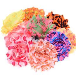 Wholesale Diy Shabby Chic Flower Headbands - 30PCS Shabby Chic Flower Baby Hair Accessoreis Frayed Flower No Hairclip Flowers for Headbands DIY Accessoreis Fabric Flower