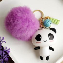 Wholesale Dragonfly Hair - Superstar Sichuan Memorial panda cute hair ball Keychain vinyl bell bag pendant creative gifts