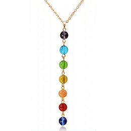 Wholesale Necklace Real Stone - 7 Chakra Beads Pendant Necklace With Real Stones - Mala Y-Shaped Chain Necklaces -Reiki Chakra Healing Energy Beads Yoga Necklace