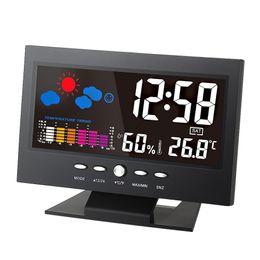 Wholesale Temperature Humidity Meter Hygrometer - °C °F Multifunctional LCD Digital Temperature Humidity Meter Clock Thermometer Hygrometer Calendar Temperature Trend Alarm Weather Forecast