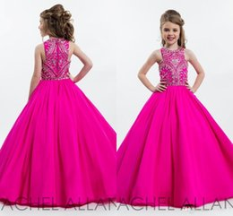 Wholesale Hot Pink Pageant Dresses Girls - 2017 Hot Fuchsia Sparkly Princess Girls Pageant Dresses for Teens Beading Rhinestone Floor Length Flower Kids Formal Wear Prom Dresses