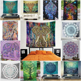 Wholesale Decorative Hang Wall - 210*150cm Wall Decorative Hanging Tapestries Indian Bedspread Ethnic Throw Art Bohemian Floral blue green square Towels Beach Yoga Throw Mat