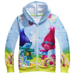 Wholesale Princess Sweatshirts - Girls Trolls Hoodies Sweatshirts children cartoon princess Long sleeve zipper Hoodie jacket kids coat H001