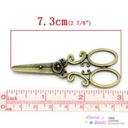 Wholesale bronze scissors - Charm Pendants Scissors Antique Bronze 7.3x3cm,10PCs (K02845) 8years pendant lighting dining room pendant energy pendant energy