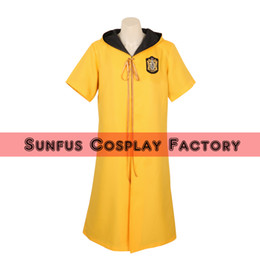 Wholesale Harry Potter Deluxe - Halloween Harry Potter Quidditch robes Gryffindor yellow color Cape Costume Cosplay adult costume movie High Quality Deluxe