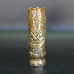 Wholesale More Fine - China brass buddhist fine workmanship lotus flower Brush Pot Statue home decoration