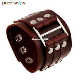 Wholesale Brown Leather Wristband Buckle - New Punk Double Buckle Men Brown Leather Bracelet Rivet Stainless Steel Wide Bracelet Wristband Jewelry Unisex