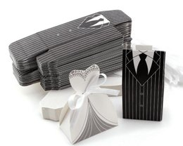 Wholesale Recycled Corrugated - New Wedding Favors Bride and Groom Candy Boxes Chocolate Bag Stripes Suit Nightgown Gift Box Jewelry Holder