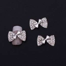 Wholesale Diamond Pearl Nail Art - Nail Art Decorations Exquisite Nails Jewelry Accessories Zircon Diamond Rhyme Cute Bow Tie Cute Bow Knot Patch Patch Alloy Pearl Nail Sticke