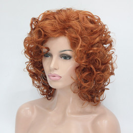 Wholesale Sexy Under Ladies - Hivision 2017 new sexy ladies fashion health super Cute Cosplay orange brown Curly Medium Women's Full Wig