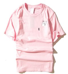 Wholesale Womens Small Shorts - Wholesales Hot New fashion Harajuku mens and womens round collar couples pocket middle finger cat small base wacky short sleeve T-shirt