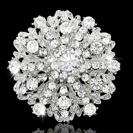 Wholesale Wholesale Retail Flower Dress - Wholesale- Retail Hot Selling Top Quality Austria Crystals Silver Tone Wedding Bridal Bouquet Flower Brooch Women Party Dress Jewelry