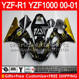 Wholesale Yamaha R1 Gold Fairings - Bodywork For YAMAHA YZF1000 YZF 1000 YZFR1 00 01 98 99 74NO34 Gold flames R 1 YZF-R1000 Body YZF-R1 YZF R1 2000 2001 1998 1999 Fairing Kit