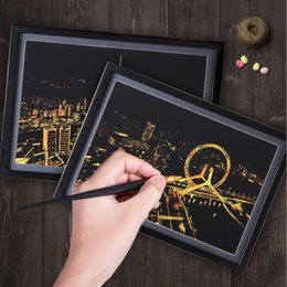 Wholesale Paper London - Drawing Paper London Scratch Night View Paper Landscape Painting Home Decoration Art Gift Scraping Scratch Drawing World Sightseeing DHL