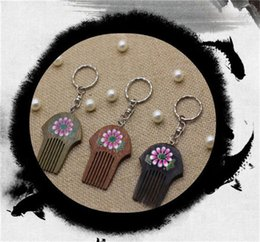 Wholesale Wood Rings Cheap - 2017 Newly sold high quality solid comb key chain landscape flowers cheap key holder personalized engraved key ring free shipping # KW01X