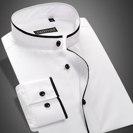 Мужские рубашки с полосатым воротником онлайн-Wholesale- CAIZIYIJIA Summer 2017 Men's Banded Collar Shirt Long Sleeve 100% Cotton Slim-Fit Solid Color Mens Business Casual Dress Shirts
