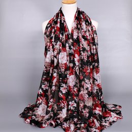 Wholesale Long Voile Scarves - Girl's printe floral viscose hijab scarf shawl muslim autumn popular long muffler cotton voile scarves scarf 6 color