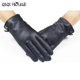 Wholesale Smooth Drive - Wholesale- Hand Warmer Men's Smooth Leather Cashmere Gloves Winter Super Warm Driving Hand Protecter Luva Motociclista#B817