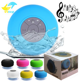 Wholesale Wireless Speakers Mic - Mini Portable Subwoofer Shower Waterproof Speaker Wireless Bluetooth Car Handsfree Receive Call Music Suction Mic For iPhone Samsung