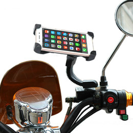 Wholesale Mobile Phone Motorcycle Stand Holder - Motorcycle Phone Holder Rear View Mirror Moto mobile Support For Iphone 8 7 Plus S8 GPS Universal Motorbike Mount Bracket Stand for 3.5-6.0