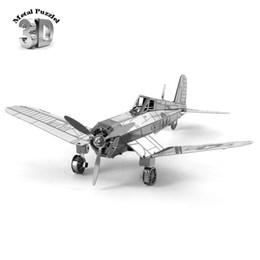 Wholesale Zero Fighter Freeship - Wholesale-3D Metal Puzzles Miniature Model DIY Jigsaws Sci-Fi Model Silver Gold Gift Airplane Pirates Fighter Zero Gunner
