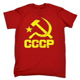 Wholesale Ussr Army - CCCP USSR T-shirt Stalin Communist Soviet Russian Red Army Russia Birthday Gift Summer Short Sleeves New Fashion T Shirt
