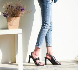 Wholesale Chunky Sandals Girls - new Arden Furtado 2017 summer dress shoes casual girls genuine leather back strap peep toe grey sandals chunky heels buckle woman hoof heels