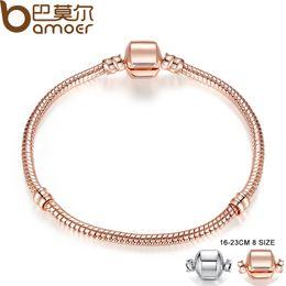 Wholesale Gold Pandora Jewelry Wholesale - Pandora Style Rose Gold Color & Silver Snake Chain Bracelets DIY Bracelet Jewelry 16CM-23CM 8 Size Choice