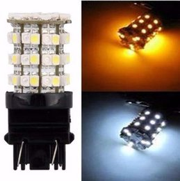 Wholesale T25 Free Shipping - 6PCS Switchback Dual Color White Amber T25 3157 2835 60SMD Turn Signal LED Bulbs free shipping