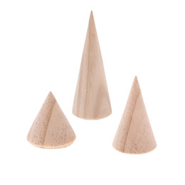 Wholesale Wood Jewelry Display Wholesale - 3Pcs Unpainted Plain Cone Wooden Ring Jewelry Display Stand Holder Organizer