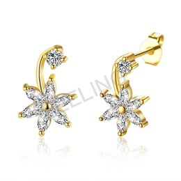 Wholesale Earring Stud Yellow Gold - 2017 hot sale high quality yellow white rose fashion Elegant earring Flower studs with 6 petals