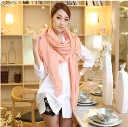 Wholesale Scarf Mixed Candy Color - 30pcs New Arrival 180*100cm Women Solid Color Winter Candy Cotton Scarf Shawls And Scarves Linen Cotton Scarf Warm Beach Towel Mix Style