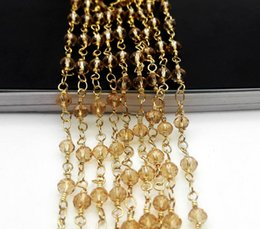 Wholesale Yellow Rosaries Wholesale - 5m Of One Strand yellows Spinel Rosary Style Beaded Chain,Gold plated Wire Wrapped Beaded Chain Rosary chain faceted beads size 3x4mm jewelr