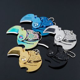 Wholesale Metal Shaping Hand Tools - 2017 Special Cool Hand Creative Coin-Shape Mini EDC Folding Pocket Keychain Knife 5 Color Metal Gadget Camping Tools Gift B100L