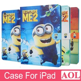 Wholesale Ipad Mini Small - Smart Wake Kids Tablet Case Cover for iPad 2 3 4 air air2 mini mini4 Lovely Small Yellow People cartoon With free gifts