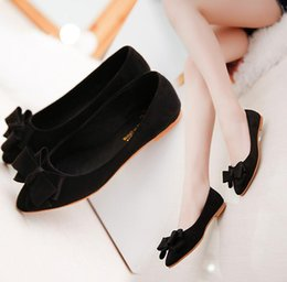 Wholesale Nude Bow Heel - 2017 spring and autumn new pointed shallow shoes professional work shoes wild flat heels female bow shoes