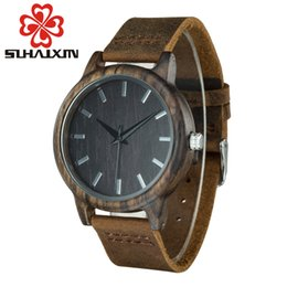 Wholesale Faith Case - SIHAIXIN Wood Luxury Women Watch Leather Bracelet Quartz Watches Natural Wood Bamboo Case Vintage Women's Faith Clock