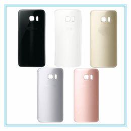 Samsung logo stickers online-Original para Samsung Galaxy S7 G930 S7 Edge G935 carcasa de la puerta de la batería de vidrio contraportada CaseLogo + etiqueta engomada, tapa de la batería