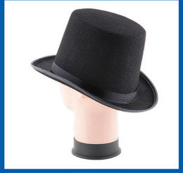 Wholesale Black Magic Costume - 2017 Popular Halloween Costume Party Black Hybrid Fiber Hat Cap Halloween Magician Magic Role Play Dress Up Jazz Hat