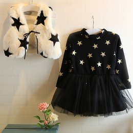 Wholesale Waistcoat Kids Lace - Kids winter dress girl star lace tutu dress with plush shawl dress +waistcoat 2 pieces red white 2 color 5p l