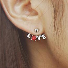 Estilos de piercing na orelha on-line-Carta de Amor de cristal Coração Ear Cuff Stud DHL Brinco Orelhas Furadas Hot New Style Coreano Moda Brincos de Casamento Presente de Natal