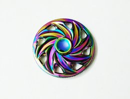 Wholesale Steering Spinners - 2 muniute Steering wind and fire wheel Rainbow Colorful Znic Alloy EDC Circle Spinner Finger Decompression Anxiety Fidget Spinner 20pcs lot